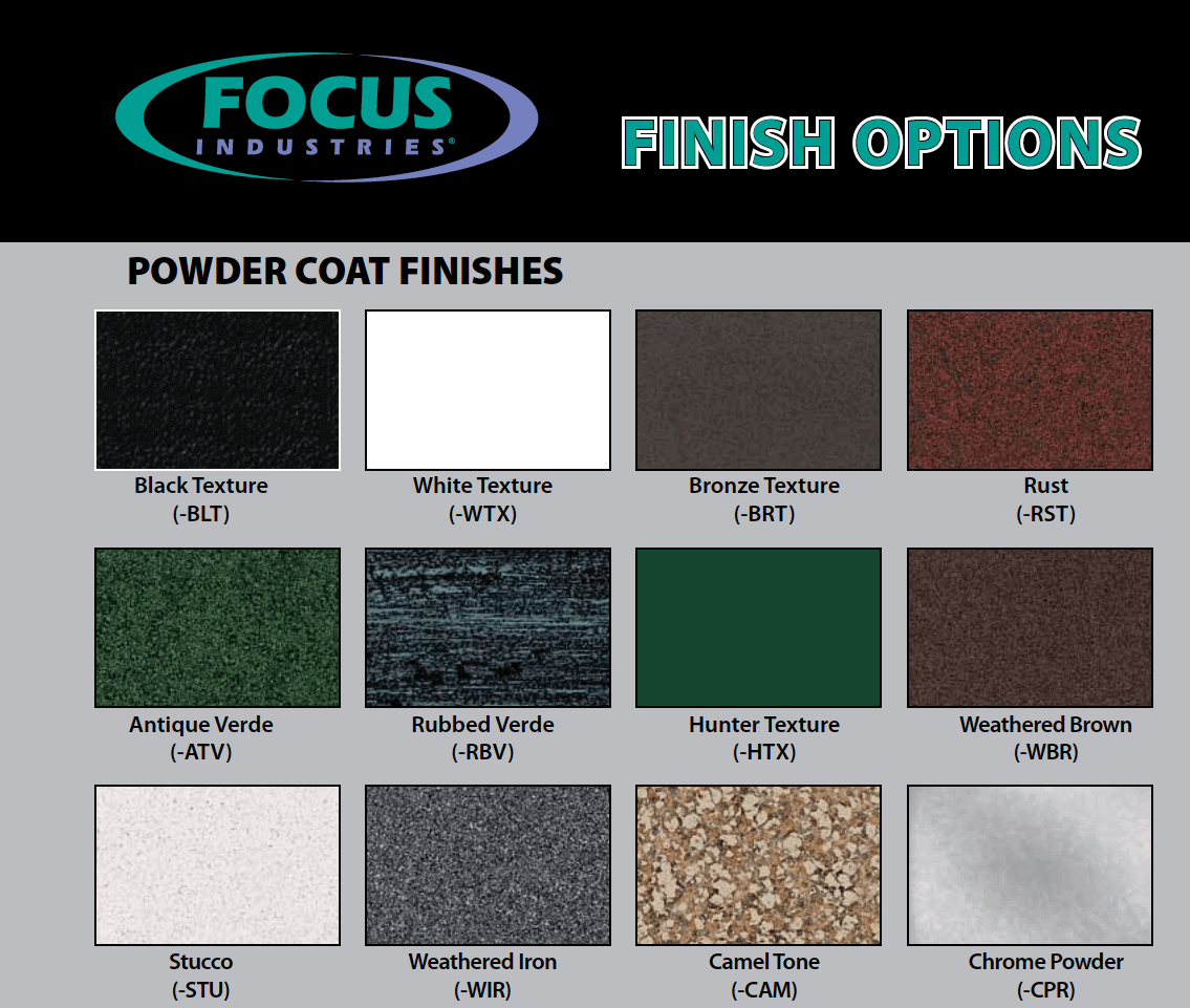 focus Aluminum Finish Options