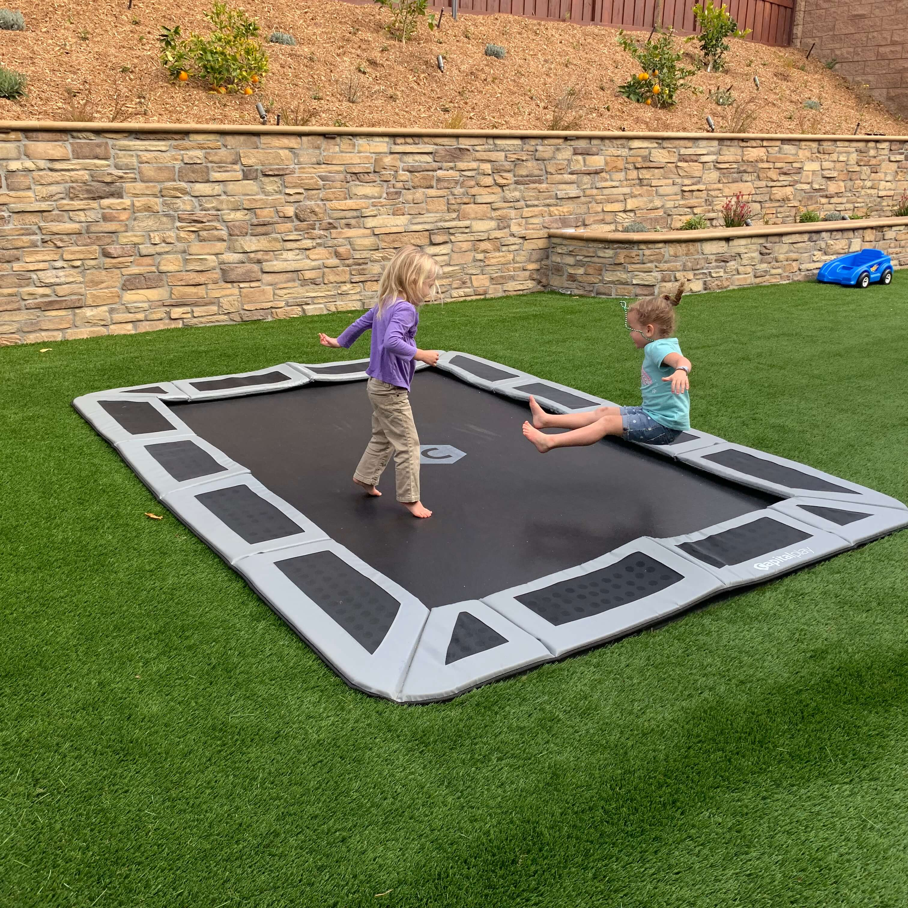 Rectangle In-Ground Trampoline with Kids