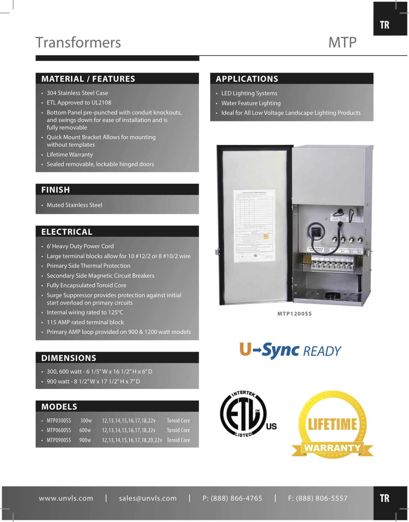 Universal Lighting Systems - MTP - MultiTap Toroid Core Transformers ...